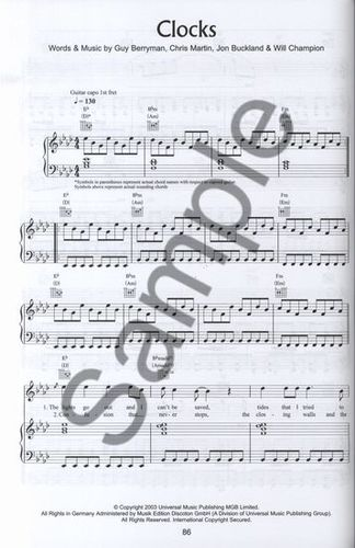 partition piano clocks coldplay