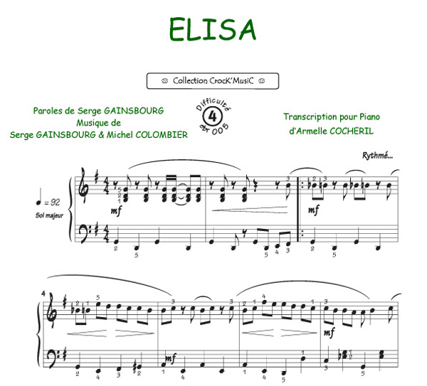 Piano tablature piano facile gratuite : Serge Gainsbourg sheet music - Piano solo (buy online).