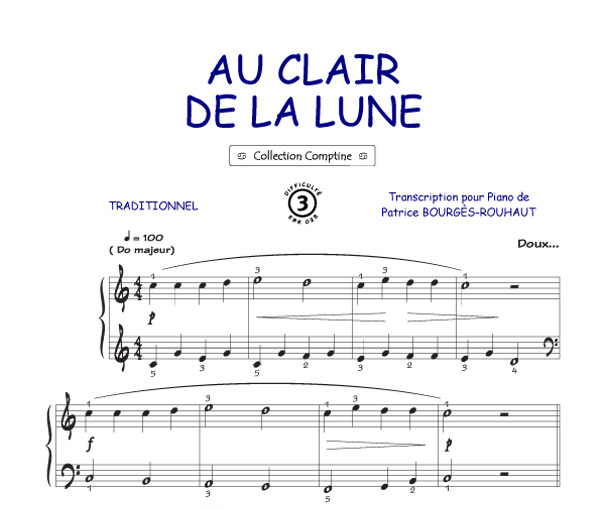 Exceptionnel Au clair de la lune (Comptine) - Piano, Voix, Accords & Tablatures  BY97