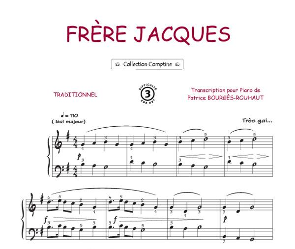 Fr re jacques comptine piano voix accords tablatures guitare tout instrument - Le vent nous portera chords ...