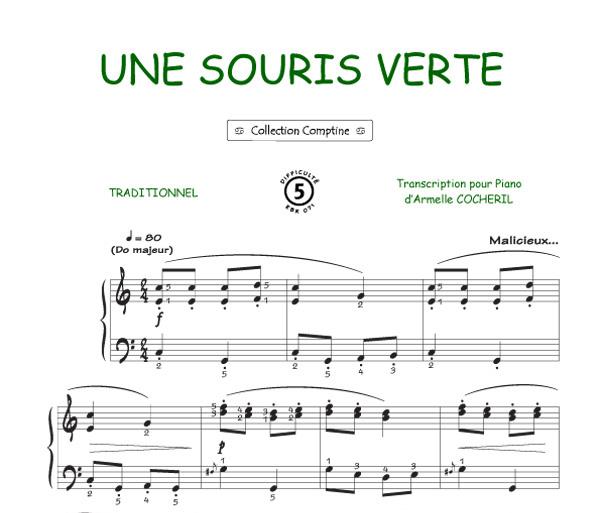 partition guitare une souris verte