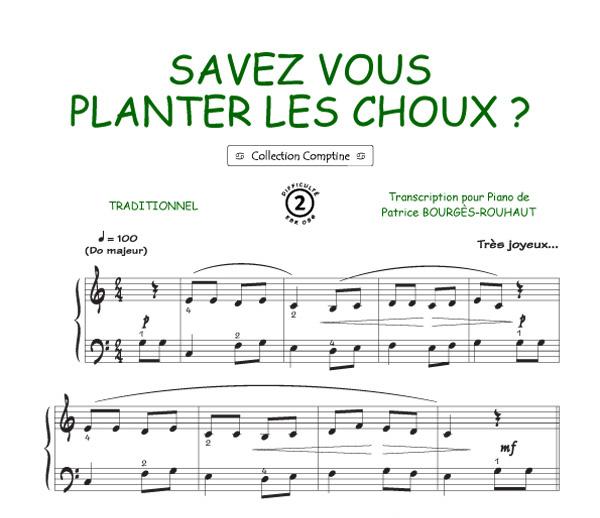 Savez Vous Planter Les Choux Comptine Piano Voix Accords