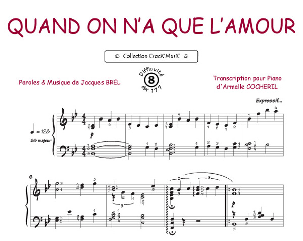 Piano tablature piano facile gratuite : Partitions de Jacques Brel - Livres, Recueils, Tablatures