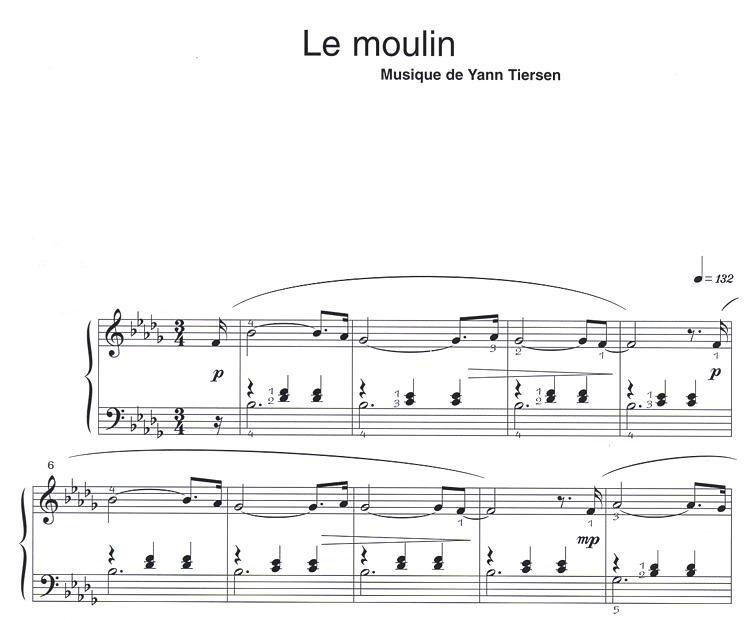 partition piano gratuite amelie poulain