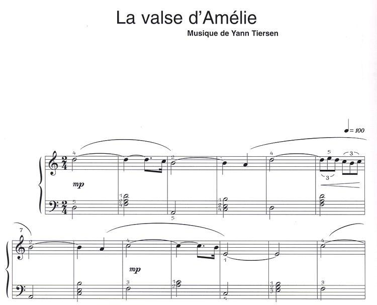 partition piano musique film amelie poulain