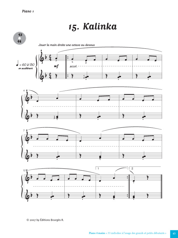Super 33 Mélodies pour Piano 4 Mains à l'usage des Petits et Grands  JT49