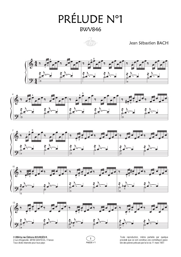 partition piano prelude de bach