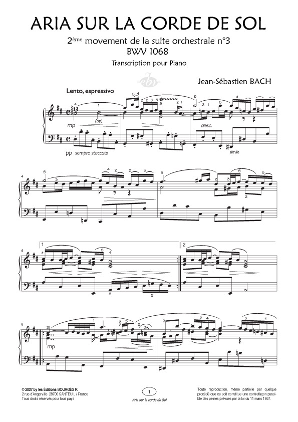 partition piano bwv 1068