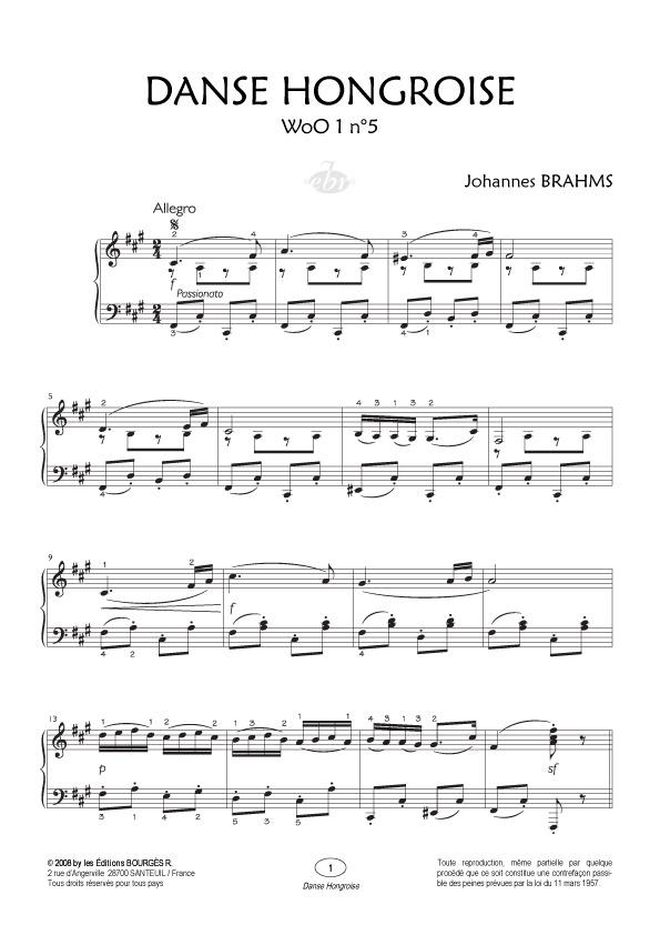danse hongroise 5 partition piano