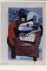 Carte Postale d\'Art `Guitare, Journal et Bouteille sur une Table, 1921`