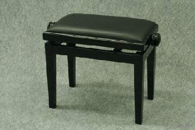 Banquette de piano bois noir brillant cuir noir coll e piano buy onli - Banquette simili cuir noir ...