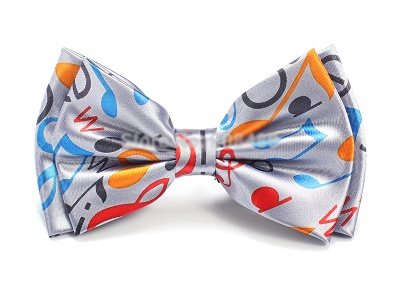 N?ud Papillon - Motifs Musicaux Multicolores Gris [Bow Tie - Mixed Multicolored Music Notes Grey]