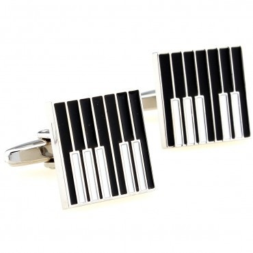 Boutons de manchette : Touches de Piano - Noir [Cufflinks : Keyboard - Black]