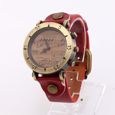 Montre Motifs Musicaux - Bordeaux [Wrist Watch Music Notes - Burgundy / Bordo]