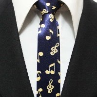 Cravate - Motifs Musicaux Bleu and Or [Tie - with Music Notes Blue and Gold]