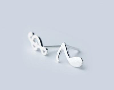 Boucles d\'oreilles Clé de Sol / Croche (Argent) [Earrings -G clef and Note - Silver]
