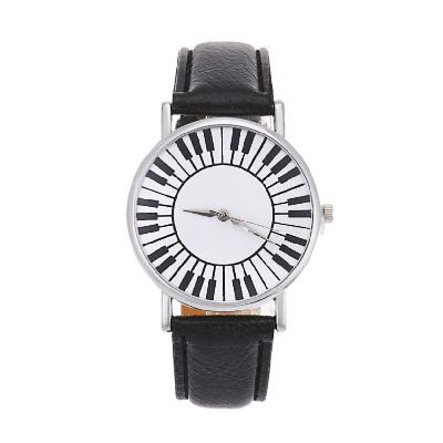 Wrist Watch Piano Keys Black