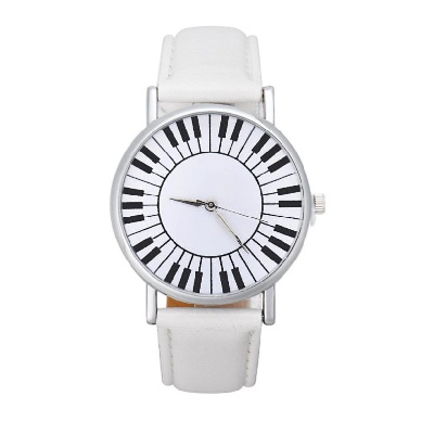 Montre Cadran Touches de Piano - Blanc [Wrist Watch Piano Keys White]