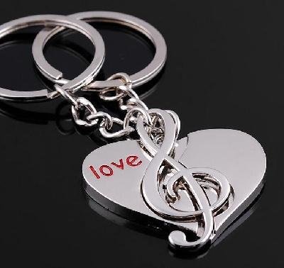 Porte-Clefs Forme de Coeur et de Clef de Sol pour Couple [Keyring G-clef and Heart for Couple]