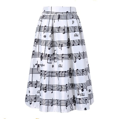 upe Portée de Note [Midi Skirt With Music Notes]