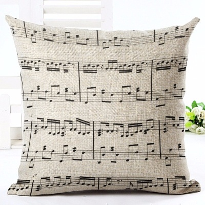 Taie d\'Oreiller / Housse de Coussin Grosse Portée de notes [Cushion Covers / Pillowcase Big Musical Statf]