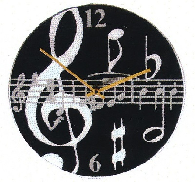 Horloge - Black Music Notes