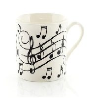 Music Notes Mug - Black On White