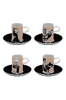Set de 4 Tasses à Café & 4 Soucoupes - Biscuit de Porcelaine - Musiciens