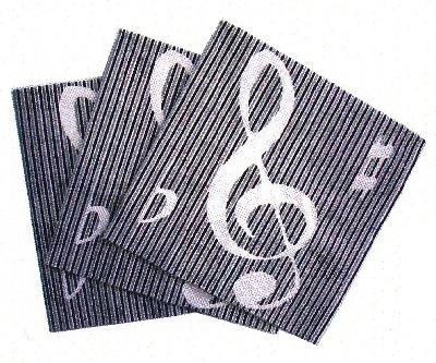 Serviette en Papier - Clefs and Stripes (Noir et Argent)
