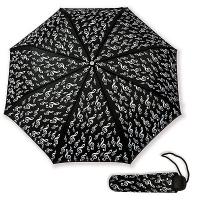 Parapluie de Poche Noir Clef de Sol Blanche