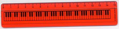 Règle Touche de Piano Rouge 15 cm