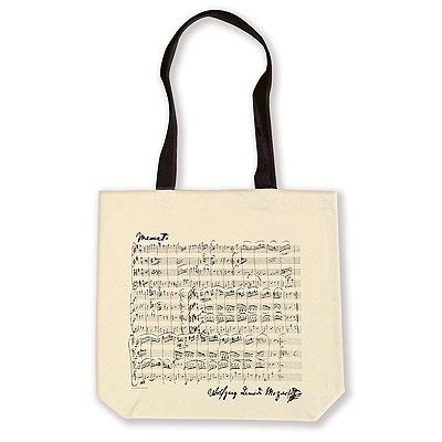 Sac en Tissu - Grandes Anses - Menuet de Mozart (Blanc Naturel)
