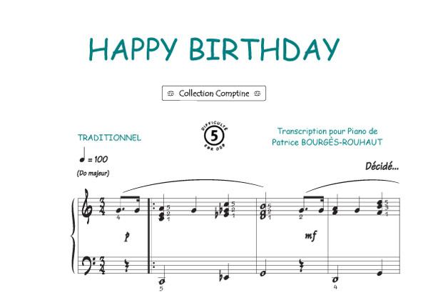 partition piano joyeux anniversaire jazz