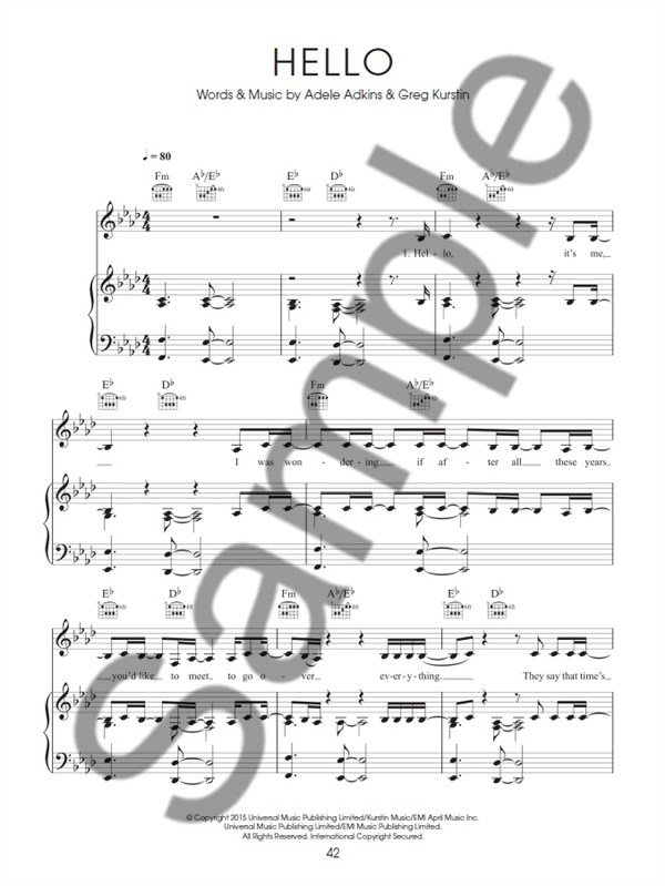 Sheet Music : Adéle : The Best Of Adele (Piano, Vocal and