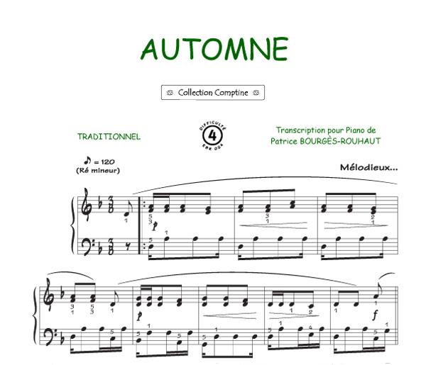 Partitions automne colchiques dans les pr s comptine piano seul - Colchique dans les pres ...