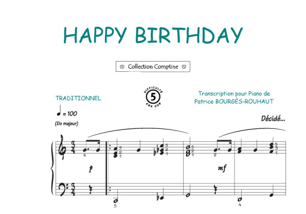 Partitions Traditionnel Happy Birthday Traditionnel Comptine
