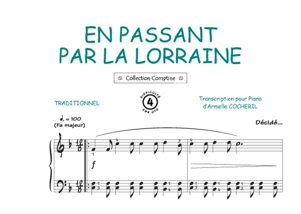 Sheet music en passant par la lorraine comptine piano for Par la fenetre ouverte comptine