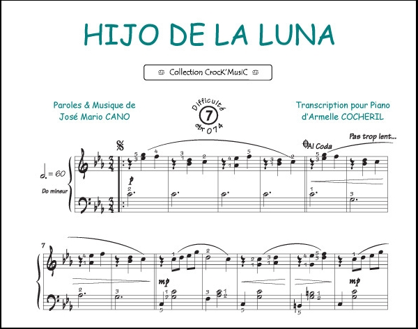 Partition piano hijo la luna