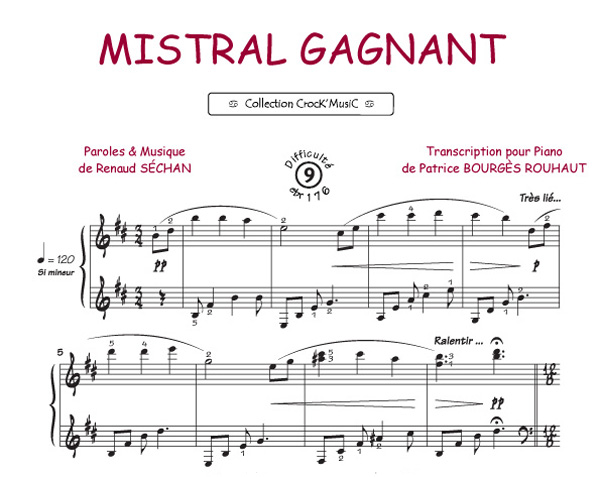 partition piano facile mistral gagnant