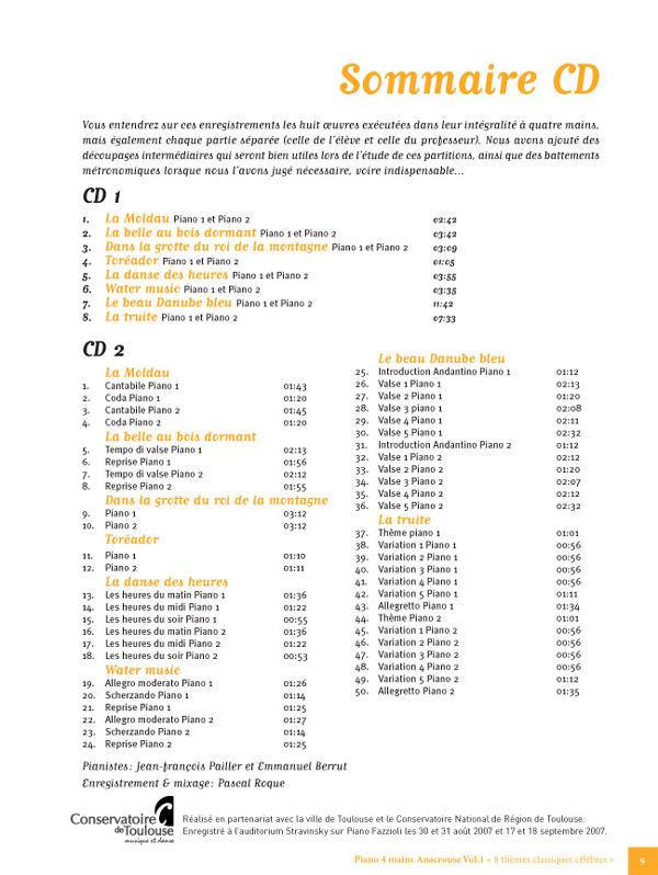 8 Thèmes classiques célèbres pour Piano 4 Mains / Anacrouse Vol.1/ 2 Cds sheet music