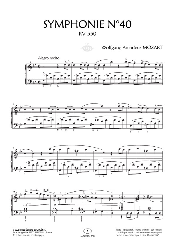 Partition piano 40 symphonie mozart